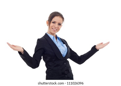 Young business woman smiling, with arms opened, facing the camera, isolated on white background
