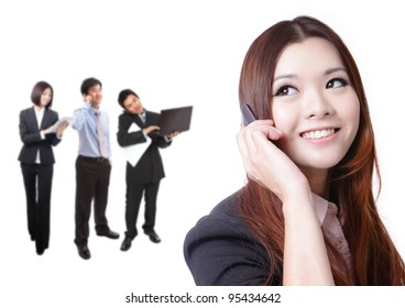 Young business woman speaking mobile phone with sweet smile with business background, model is a asian beauty