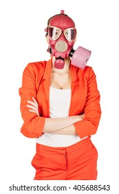 young business woman standing with a gas mask on white background