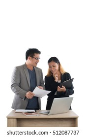 Young business woman standing with her boss conversation about the business at office isolated on white background.
