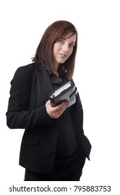 young business woman standing holding a filofax