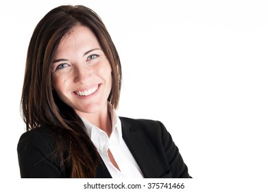 Young business woman standing on white background