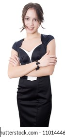 Young business woman standing and smiling isolated on white background