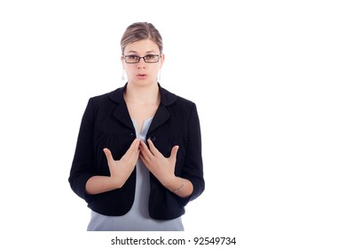 Young business woman taking a deep breathe to calm down, isolated on white background.
