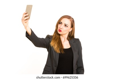 Young business woman taking selfie portrait