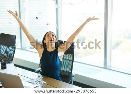 Young Business Woman Throwing Paperwork into The Air. Business People