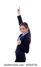 young business woman winning isolated on white background