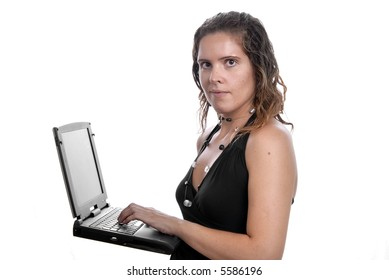 young business woman working with her laptop