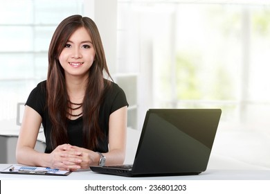 young business woman working with laptop in the office