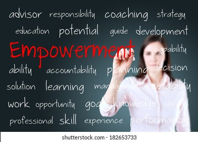 Young business woman writing empowerment concept.