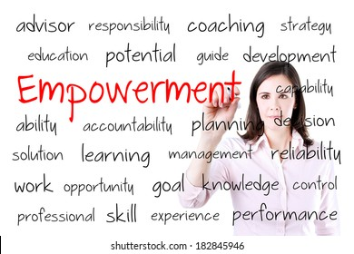 Young business woman writing empowerment concept. Office background.