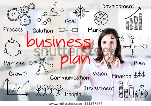 Young Business Woman Writing Business Plan Stock Photo (Edit Now) 181247894