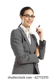 young business womansmiling and  holding pen