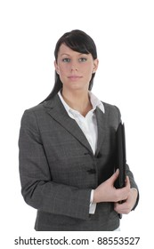 Young business women hold files and portfolio