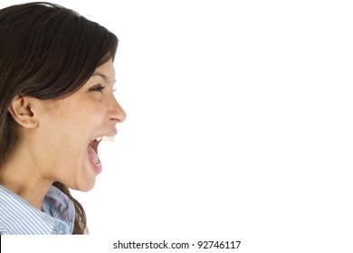 Young business women shouting.
