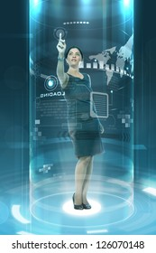 young businesslady working on futuristic virtual screen