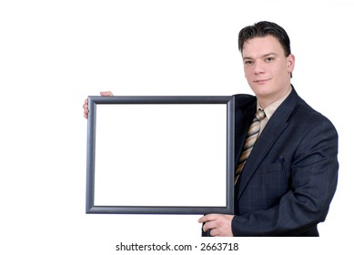young businessman with advertising board, communication, advertisement concept.