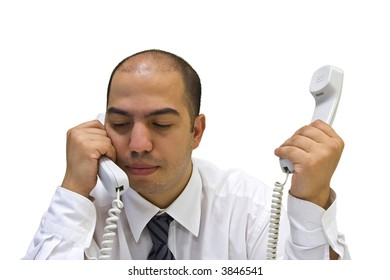 Young businessman answering the phones