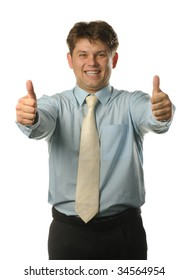 The young businessman with approving gesture