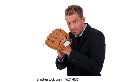 Young businessman with a baseball glove