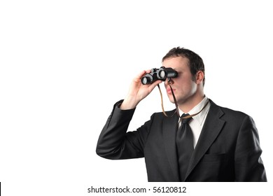 Young businessman with binoculars