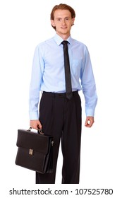 Young businessman in blue shirt with black briefcase isolated on white background