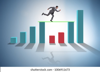 Young businessman in business concept with bar charts