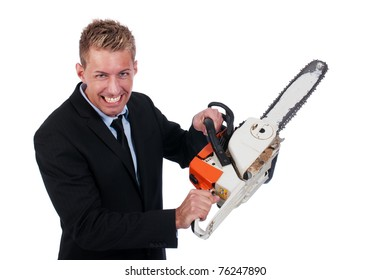 Young businessman with chainsaw