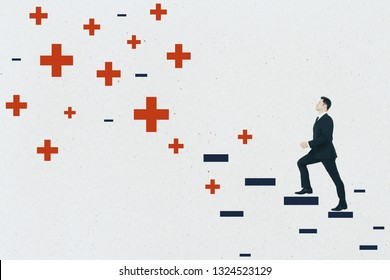 Young businessman climbing abstract plus and minus ladder on concrete wall background. Medicine, health and development concept