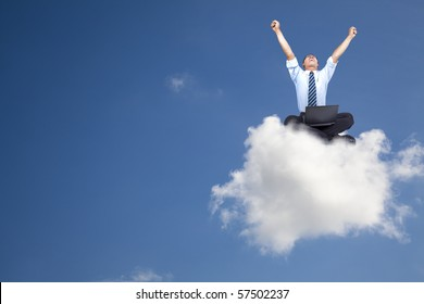 Sitting On Clouds Images Stock Photos Vectors Shutterstock From intergalactic travel's by chills. https www shutterstock com image photo young businessman computer sitting on cloud 57502237