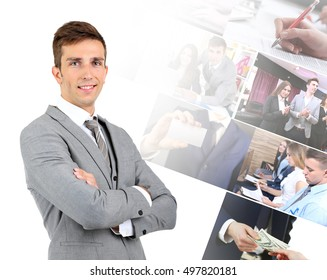 Young businessman and different photos on white background. Business people concept.