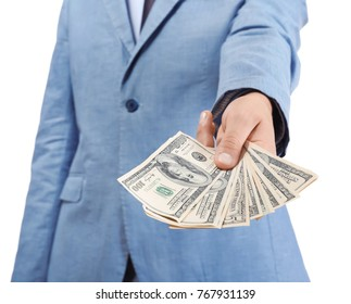 Young businessman with dollar bills on white background, closeup