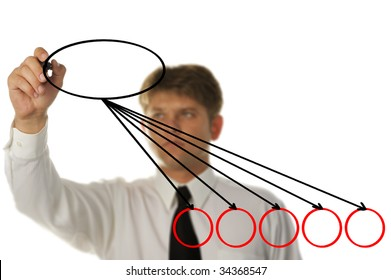 The young businessman drawing on the screen