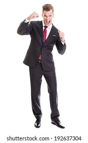 Young businessman enjoying the success - Full length portrait of a satisfied young businessman isolated on white background