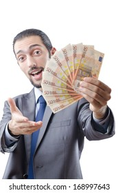 Young businessman with euro on white