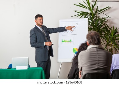 Young Businessman Explaining Plans and Charts