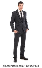 Young businessman feels success isolated on white background