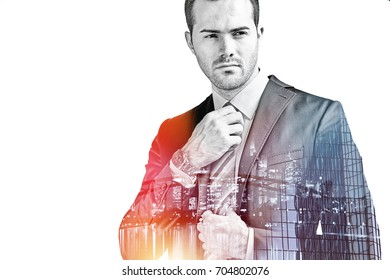 Young businessman fixing his tie double exposure isolated on white