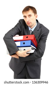 Young businessman with folders isolated on white
