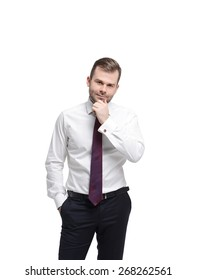 Young businessman in a formal clothes. Isolated.