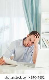 Young businessman got bad news via mail