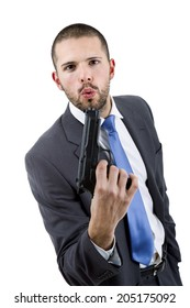 young businessman with a gun, isolated on white