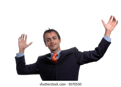 young businessman with hands open isolated on white