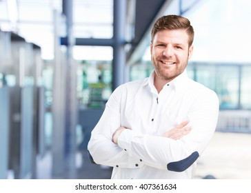 young businessman happy expression