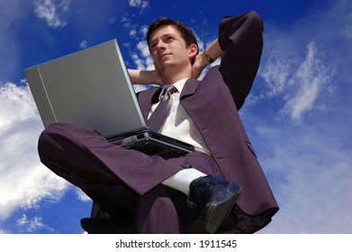 Young businessman has just finished his work