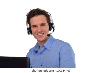 Young businessman with headset and laptop isolated
