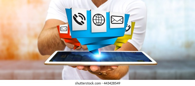 Young businessman holding modern digital origami icon application over his mobile phone '3D rendering'