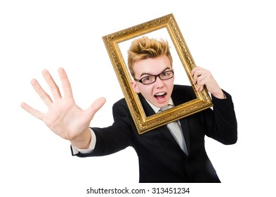 Young businessman holding picture frame isolated on white