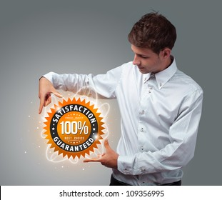 Young businessman holding virtual business sign