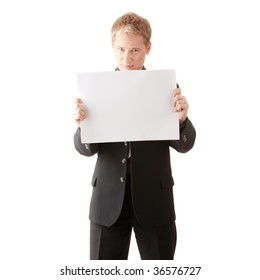 Young businessman holds blank signs. It is isolated on a white background